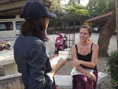 "Miss Daria Bredew (right), a German volunteer at the Redemptorist Foundation for people with disabilities, told Pattaya Mail, ""…There are too many stray dogs""."