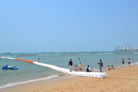 The wide, red-and-white barriers marking swimming areas off Pattaya-area beaches are providing more safety for swimmers and better looks for the shoreline.