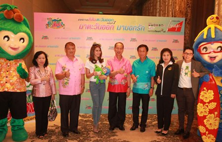 Chonburi Gov. Khomsan Ekachai (center) and friends announce the Colors of the East festival will return to Pattaya Beach March 27-30.