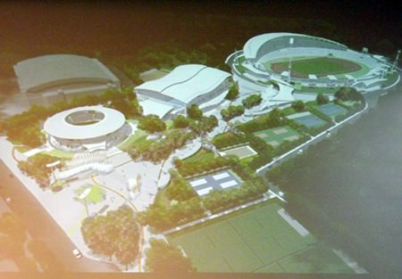 An artist's rendering of the construction plan for phase 2 of the football stadium.