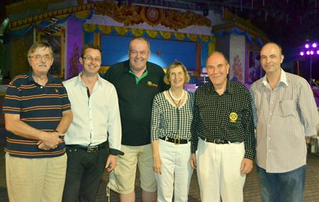 (L to R) Martin A.C. Brands, Past President of the Rotary Club Nakhon Ratchasima; Nigel Quennell, President of the Rotary Club Eastern Seaboard; Robert P. Denzel, Secretary of the Rotary Club Eastern Seaboard; Dr. Margret Deter, Secretary of the Rotary Club Phonix Pattaya; Dr. Otmar Deter, President of the Rotary Club Phonix Pattaya and Christophe Autret, member of the Rotary Club Eastern Seaboard.