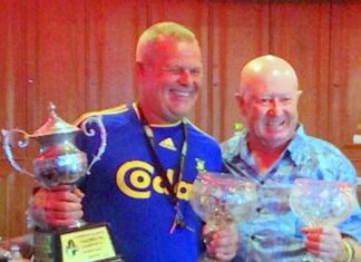 Lewiinski's Open champion Freddy Starbeck (left) with runner-up Bruce Rogers.