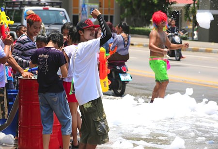 These guys set up their own foam party on Thepprasit Road.