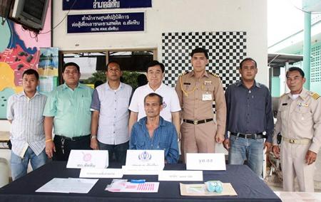 "Police announce the arrest of Thongsuk ""Kokae Samae San'"" Thapthim for allegedly trafficking in ya ba."