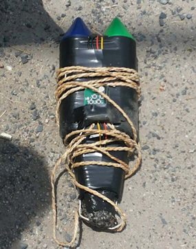 The navy's bomb squad was able to defuse this homemade bomb planted near Banglamung Vocational College.