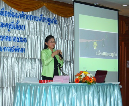 Jidapha Smithanon, lecturer from Pitchaya Suksa School, educates Pattaya School teachers at Town in Town Hotel.
