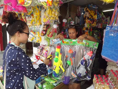 "Tongrian Premwinai, the owner of Rung Jarern store said, ""These jumbo water guns are the most popular this year."""
