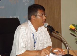Anucha Luangmuang, acting chief of Sea Disaster Prevention, defends the use of the new swim buoys.