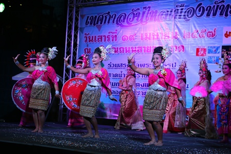 Students from Pattaya School No. 8 perform traditional Thai dance during the press conference announcing this year's Songkran Festival.