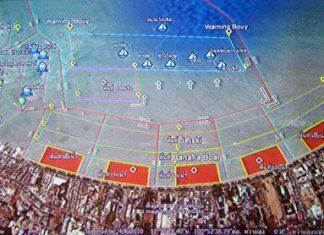 Proposed buoy areas for swimming, banana boats, jet-skis and parachuting in Pattaya Bay.