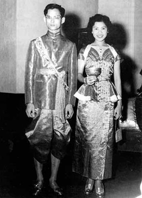 The Royal Couple were married at the Sra Pathum Palace in Bangkok on April 28, 1950. (Photo courtesy of the Bureau of the Royal Household)