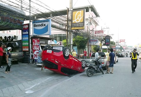 Remarkably, no one was hurt in this accident on Sukhumvit Road.