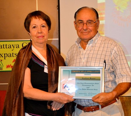 Following Nathan's talk, MC Judith presented him with a Certificate of Appreciation.