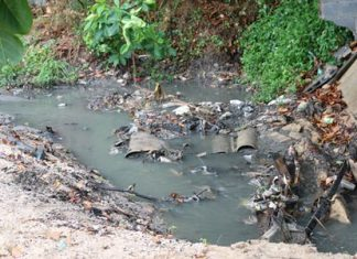 Sewage makes its way to the beach as a result of the faulty water pump.