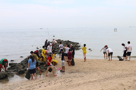 Children are certainly having fun with their day out, cleaning the beach.