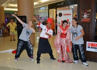 Hip-Hop teachers Megu (right) and Rebecca (left) bust some moves with 2 stars of the Benihana show.
