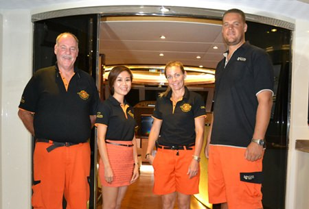 Crew members of the Heliotrope (L to R) Philip Guenat, Bakri Cono Shipyard Director of International Sales; Tanyapa Simsin, Caroline Lezb and MD Bernard Lamprecht.