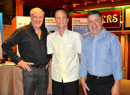 Dr. Iain Corness; John Andrew Manley, Marriot Pattaya's Director of F&B; and Paul Strachan, PMTV Productions Manager.