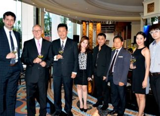 (L to R) Gabriel Fernandez, Export Area Manager of Miguel Torres S.A. and Wine Specialist of the evening; Ron Batori, President of Bangkok Beer & Beverages Co., Ltd.; Suchart Suksawad, Beverage Manager of the Royal Cliff Hotels Group; Maria Gequillana, PR and Marketing Communications Manager of Royal Cliff Hotels Group; Thakul Kijadetch, Sales Manager of Bangkok Beer & Beverages Co., Ltd.; Paitoon Ritdej, F&B Director of the Royal Cliff Hotels Group; Naphat Setdhanai, Assistant-Business Development Manager of BB and B; and Thara Mongkondejkun, Marketing Executive of Bangkok Beer & Beverages Co., Ltd.