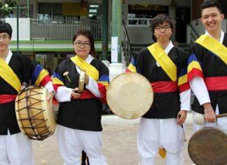 The Korean drummers.