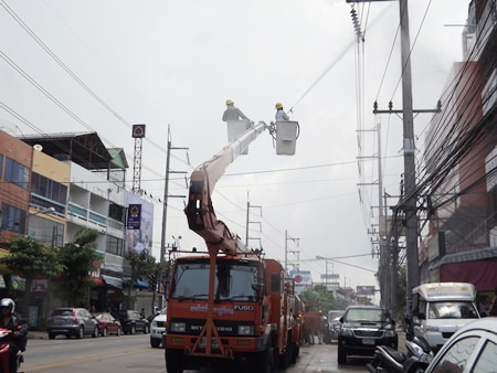 Pattaya Provincial Electricity Authority workers clean Pattaya power lines to prevent outages and fires during rainy season.