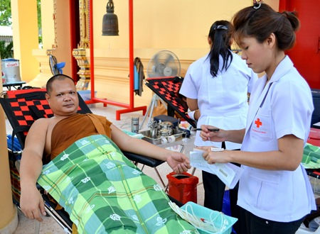 Temple monks also donated blood.