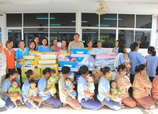 YWCA and Jesters deliver donated household items and baby supplies to mothers and children being held at the Pattaya Remand Prison.