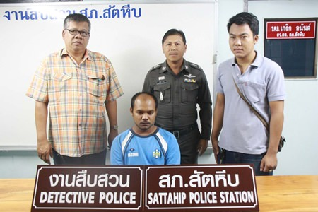 Noppol Bunsai (seated) has been arrested for allegedly raping his grandmother.