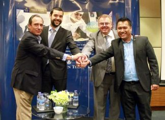 (Left to right): Golden Tulip Southeast Asia Managing Director, Mark Van Ogtrop; Louvre Hotels Group Chief Development Officer, Matthieu Evrard; Louvre Hotels Group CEO, Pierre-Frederic Roulot and Golden Tulip Indonesia Vice President, Erick Herlangga shake hands after announcing the new expansions plans for the hotel chain in Indonesia.