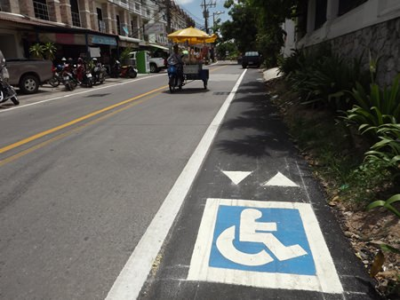 Engineers recently painted a wheelchair access sign along the route.