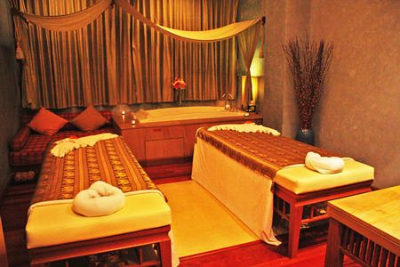 The spa's treatment rooms are tastefully decorated and infused with herbal aromas.