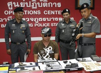 Damrongsak Rakyat is arrested for allegedly possessing a cache of weapons, as well as undisclosed human-trafficking charges.