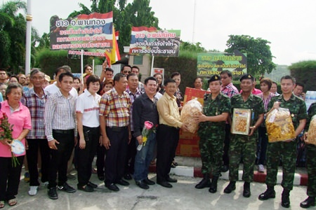 Chonburi residents show their support for the military in Chonburi.