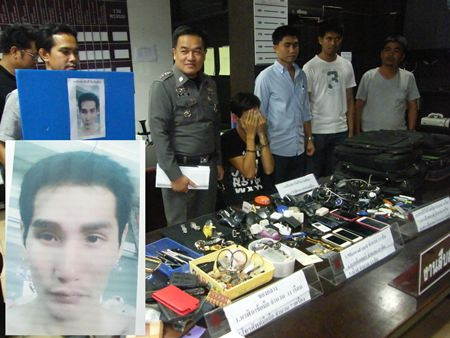 Weerachai Piyawisut (inset) was arrested in Pattaya after allegedly robbing transvestites he met through Facebook.