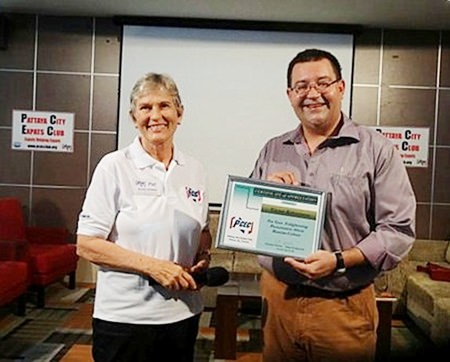 PCEC Chair Pat Koester presents a certificate of appreciation to Victor Kriventsov for his interesting and informative talk to the PCEC.