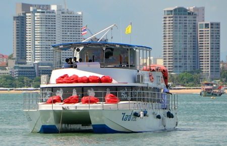 The Catamaran Ice Cruise awaits its passengers off the Bali Hai Pier in South Pattaya.
