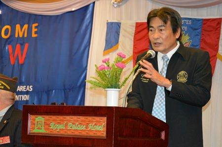 Deputy Mayor Ronakit Ekasingh welcomes the veterans to Pattaya.