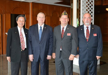 (L to R) Hans Song, Senior Counselor of the Veteran Affairs Commission; Bill Hudson, Senior Vice Commander VFW Department of Pacific Areas; Shawn Watson, Commander of the VFW Department of Pacific Areas; and Homer Kemper, Junior Vice Commander of the VFW Department of Pacific Areas.