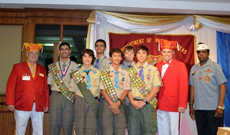 Boy Scouts pose for a photo with VIP members of the VFW Department of Pacific Areas.