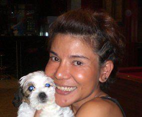 Mod Chaviraksa, winner at St Andrews, with her pet dog.