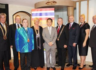 (L to R) Dale Lawrence; Bernard Whewell (Australia); Brinley Waddell, International Councilor for Thailand; Karine Coulanges (France); Siripakorn Cheawsamoot (TAT); Keith Murcott, President - International Skål Councilors (South Africa); Paul Follows (UK); Susanna Saari (Finland) and Eric Hallin - GM at the Rembrandt Hotel and former Skål Bangkok President.