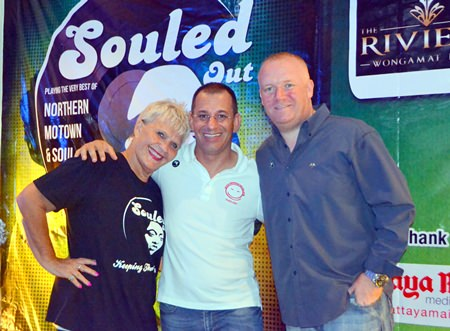 Pattaya Soul Club founders, Eva Johnson (left) and Earl Brown (right) pose with Juergen Lusardi of the Take Care Kids foundation.