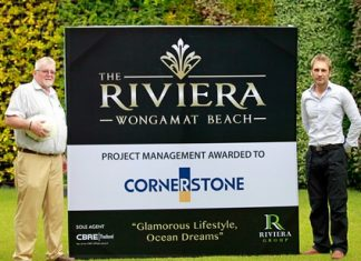 David English of Cornerstone (left) and project developer Winston Gale (right) pose for a photo after Cornerstone were appointed by Riviera Group to manage construction of the 3.5 billion baht development.
