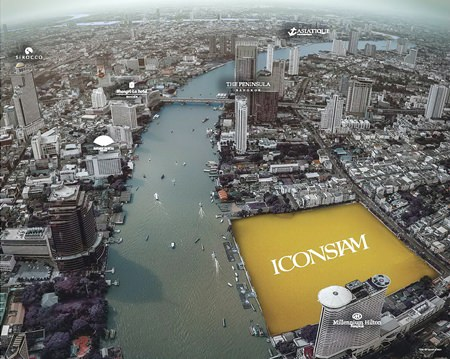 This photo shows the location site for ICONSIAM. The development, situated in the heart of Bangkok, promises to revitalize the Chao Phraya River area of the city.