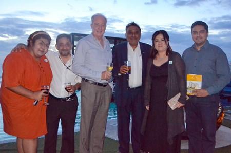 (L to R) Massic Travel's Vicky Malhotra and Marlowe Malhotra; Dr. Iain Corness, Peter Malhotra, MD Pattaya Mail Media Group, Nachawan Kanawattanakul, Manager of the Delight Residence Pattaya, and Prince Malhotra, GM of Pattaya Mail Media Group.