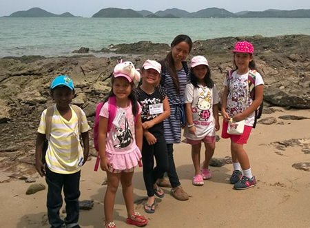 Students had a trip to the beach as part of summer school.