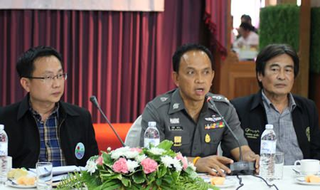 "(L to R) Sinchai Wattanasartsathorn, president of the Pattaya Business and Tourism Association; Pol. Maj. Gen. Sanit Mahataworn, acting commander of Region 2; and Deputy Mayor Ronakit Ekasingh - Pol. Maj. Gen. Sanit Mahataworn is insisting on officers enforcing the new ""Return Happiness to citizens"" policies."