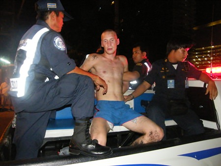 This unidentified drunk Russian was arrested for allegedly assaulting a pregnant woman, molesting another and then attacking police.
