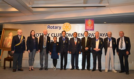 The line-up of the board of directors of the Rotary Club of Jomtien-Pattaya.