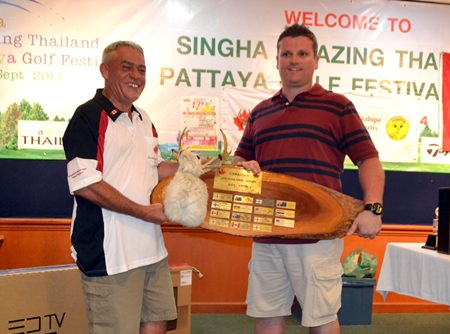 2014 champion Rodney Williams (right) receives the Jackalope trophy from Dale Drader.